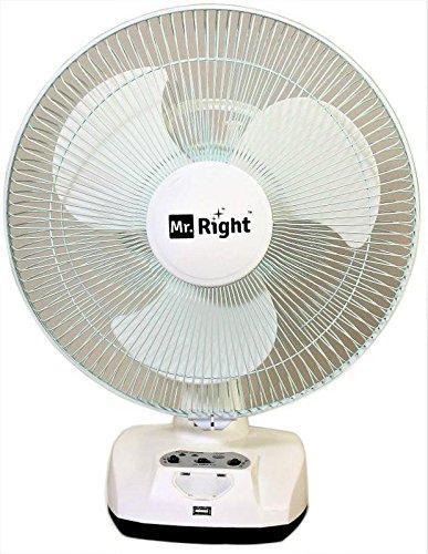 Image result for 1. Mr. Right 3 Blade Oscillating AC-DC Rechargeable Plastic Table Fan